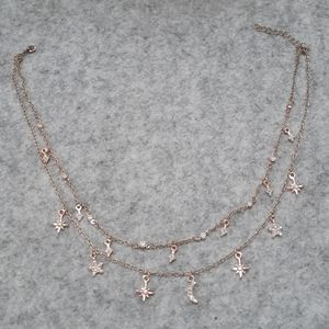 Stars and Sparkles goldtone necklace